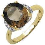 14K Yellow Gold Plated 4.74 Carat Genuine Smoky Topaz & White Topaz .925 Sterling Silver Ring