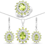 10.64 Carat Genuine Peridot and White Topaz .925 Sterling Silver 3 Piece Jewelry Set (Ring, Earrings, and Pendant w/ Chain)