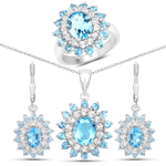 11.68 Carat Genuine Swiss Blue Topaz and White Topaz .925 Sterling Silver 3 Piece Jewelry Set (Ring, Earrings, and Pendant w/ Chain)
