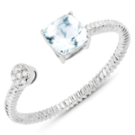 0.52 Carat Genuine Aquamarine and White Diamond 14K White Gold Ring