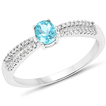 0.41 Carat Genuine Apatite and White Diamond 14K White Gold Ring