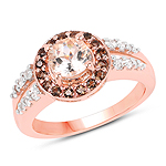 18K Rose Gold Plated 1.46 Carat Genuine Morganite, Smoky Quartz and White Zircon .925 Sterling Silver Ring