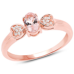 0.47 Carat Genuine Morganite and White Diamond 14K Rose Gold Ring