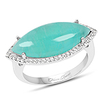 6.03 Carat Genuine Amazonite And White Topaz .925 Sterling Silver Ring