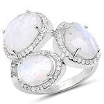 6.71 Carat Genuine White Rainbow Moonstone And White Topaz .925 Sterling Silver Ring