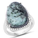 11.15 Carat Genuine Green Jasper And White Topaz .925 Sterling Silver Ring