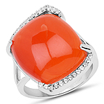 7.60 Carat Genuine Carnelian And White Topaz .925 Sterling Silver Ring