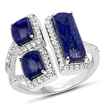 2.52 Carat Genuine Lapis And White Topaz .925 Sterling Silver Ring