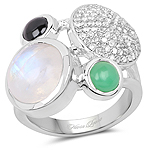 5.90 Carat Genuine Multi Stone .925 Sterling Silver Ring