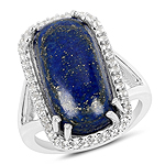 10.29 Carat Genuine Lapis And White Topaz .925 Sterling Silver Ring