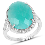 7.33 Carat Genuine Amazonite And White Topaz .925 Sterling Silver Ring