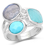 5.39 Carat Genuine Amazonite, Labradorite And Turquoise .925 Sterling Silver Ring