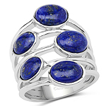 5.09 Carat Genuine Lapis .925 Sterling Silver Ring