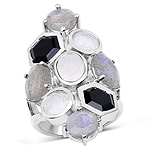 10.30 Carat Genuine White Rainbow Moonstone, Labradorite And Black Onyx .925 Sterling Silver Ring