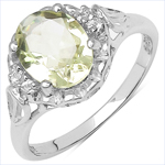 1.57 Carat Genuine Lemon Topaz & White Topaz .925 Sterling Silver Ring