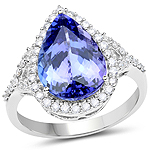 14K White Gold 5.17 Carat Genuine Tanzanite and White Diamond Ring