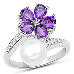 """4.69 Carat Genuine Pearl, Amethyst and White Zircon .925 Sterling Silver Ring"""