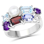 4.26 Carat Genuine Multi Stone .925 Sterling Silver Ring