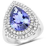 14K White Gold 5.96 Carat Genuine Tanzanite and White Diamond Ring