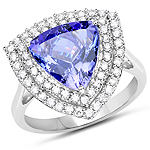 14K White Gold 4.64 Carat Genuine Tanzanite and White Diamond Ring