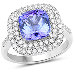14K White Gold 4.40 Carat Genuine Tanzanite and White Diamond Ring