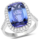 14K White Gold 7.16 Carat Genuine Tanzanite and White Diamond Ring