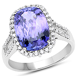 14K White Gold 5.53 Carat Genuine Tanzanite and White Diamond Ring