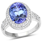 14K White Gold 5.42 Carat Genuine Tanzanite and White Diamond Ring