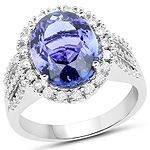 14K White Gold 5.38 Carat Genuine Tanzanite and White Diamond Ring