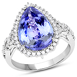 14K White Gold 6.59 Carat Genuine Tanzanite and White Diamond Ring