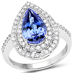 14K White Gold 4.11 Carat Genuine Tanzanite and White Diamond Ring