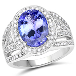 14K White Gold 4.59 Carat Genuine Tanzanite and White Diamond Ring