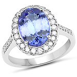 14K White Gold 3.94 Carat Genuine Tanzanite and White Diamond Ring
