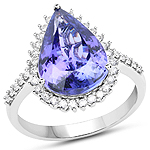 14K White Gold 5.82 Carat Genuine Tanzanite and White Diamond Ring