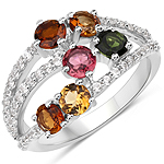 2.21 Carat Genuine Multi Tourmaline and White Zircon .925 Sterling Silver Ring