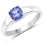 1.05 Carat Genuine Tanzanite .925 Sterling Silver ring