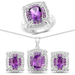 """5.88 Carat Genuine Amethyst and White Topaz .925 Sterling Silver 3 Piece Jewelry Set (Ring, Earrings, and Pendant w/ Chain)"""