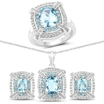 8.68 Carat Genuine Blue Topaz and White Topaz .925 Sterling Silver 3 Piece Jewelry Set (Ring, Earrings, and Pendant w/ Chain)
