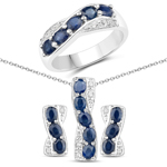 3.29 Carat Genuine Blue Sapphire and White Topaz .925 Sterling Silver 3 Piece Jewelry Set (Ring, Earrings, and Pendant w/ Chain)