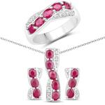 3.61 Carat Genuine Ruby and White Topaz .925 Sterling Silver 3 Piece Jewelry Set (Ring, Earrings, and Pendant w/ Chain)