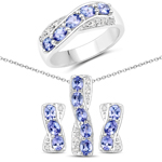 """2.81 Carat Genuine Tanzanite and White Topaz .925 Sterling Silver 3 Piece Jewelry Set (Ring, Earrings, and Pendant w/ Chain)"""