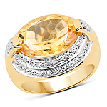 14K Yellow Gold Plated 5.06 Carat Genuine Citrine and White Diamond .925 Sterling Silver Ring