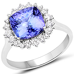 14K White Gold 3.66 Carat Genuine Tanzanite and White Diamond Ring
