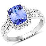 14K White Gold 2.78 Carat Genuine Tanzanite and White Diamond Ring