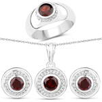 3.56 Carat Genuine Garnet and White Topaz .925 Sterling Silver 3 Piece Jewelry Set (Ring, Earrings, and Pendant w/ Chain)