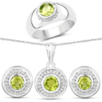 3.08 Carat Genuine Peridot and White Topaz .925 Sterling Silver 3 Piece Jewelry Set (Ring, Earrings, and Pendant w/ Chain)