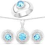 3.66 Carat Genuine Swiss Blue Topaz and White Topaz .925 Sterling Silver 3 Piece Jewelry Set (Ring, Earrings, and Pendant w/ Chain)