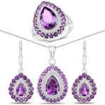 """9.46 Carat Genuine Amethyst and White Topaz .925 Sterling Silver 3 Piece Jewelry Set (Ring, Earrings, and Pendant w/ Chain)"""
