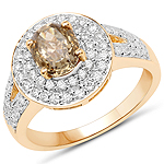 18K Yellow Gold 1.92 Carat Genuine Brown Diamond and White Diamond Ring