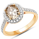 18K Yellow Gold 2.18 Carat Genuine Chocolate Brown Diamond and White Diamond Ring
